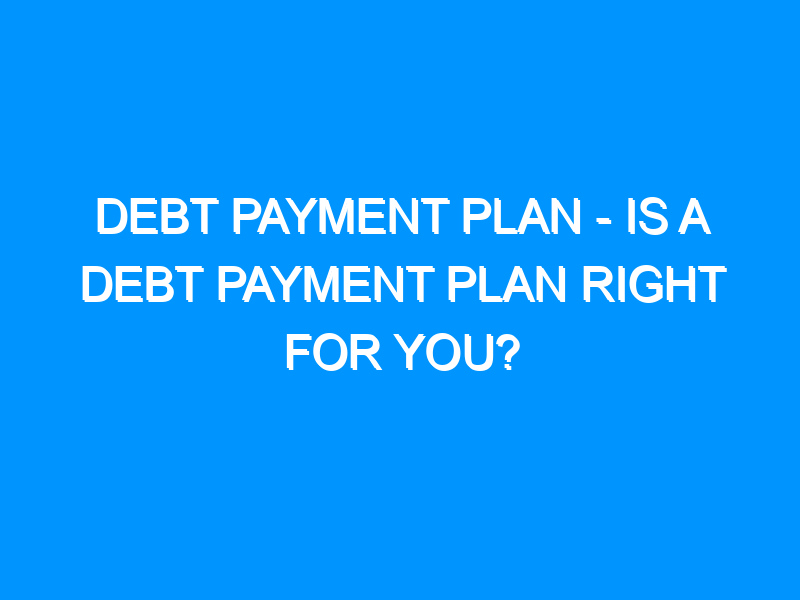 Debt Payment Plan – Is a Debt Payment Plan Right For You?