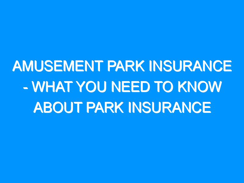 Amusement Park Insurance – What You Need to Know About Park Insurance